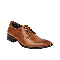 Bruno Manetti Mens Tan Faux Leather Derby Shoes