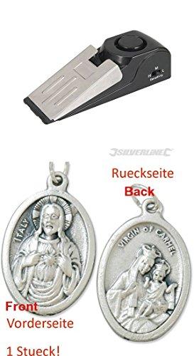 Alarm-Türstopper, 1 Stck. 9 V (PP3), Einbruchschutz, Sirene, Alarmanlage, Türsicherung mit einem Anhänger Herz Jesu 2,5cm