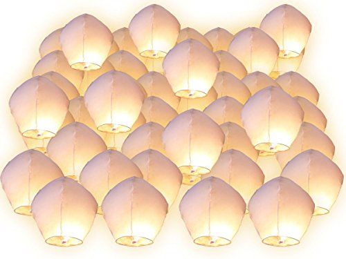 Linternas volantes Surprise fiesta boda Celeste China aniversario Extraordinaire, couleur blanc, Lot de 90