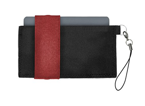 Crabby Portafoglio V2, piccoli e sottili pratico Portafoglio, Portamonete, Portafoglio, Portafoglio, In Pelle, 10,5x 5,5x 0,5cm nero Grey Red