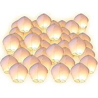 FUNLAVIE Lot de 30 Lanternes volantes blanches blanc surprise fête mariage céleste chinoise anniversaire extraordinaire+1 bracelet de gel de silice(couleur aléatoire)