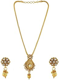 Anuradha Art Golden Colour Studded Shimmering Stone Wonderful Classy Traditional Pendant Ser Necklace For Women...