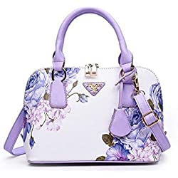Greeniris Damen Handtaschen Kunstleder Vintage Süß Umhängetasche Hobo Blumen Schultertasche Totes für Damen Chinesischer Stil Violett