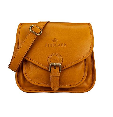 FINELAER Damen Vintage Leder Satteltasche Crossbody Bag