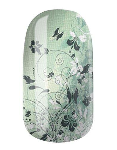 Nagelfolien/Mint Green Flowers selbstklebend mit individuellen Designs by Glamstripes- made in Germany. 12 Nail Wraps äußerst strapazierfähig mit langer Haltedauer -
