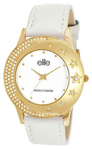 Elite Models' Fashion - E53962-101 - Montre Femme - Quartz Analogique - Cadran Blanc - Bracelet Cuir Blanc