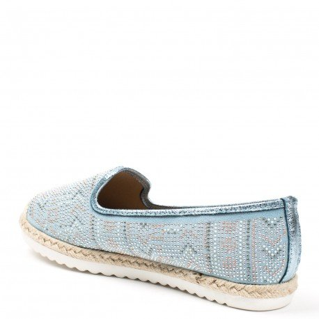 Ideal Shoes - Mocassins effet daim incrustés de strass Jimena bleu ciel