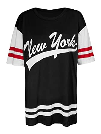 Fast Fashion Damen New York Druck Baggy Ubergroßen Baseball Varsity T-shirt (EUR 36/38 - UK (8-10), Black 1)