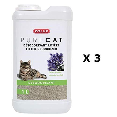 Pure Cat Lufterfrischer für Katzen, Lavendelduft, 1 l, 3 Stück -