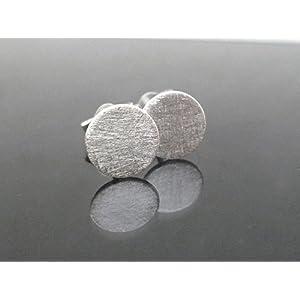 Mini gebürstete Dot 925 Sterling Silber Ohrstecker 6mm Durchmesser