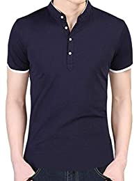 BoBoLily Camiseta para Hombres Ocio para Hombres Self Cultivation Short T-Shirts Basic Business Slim
