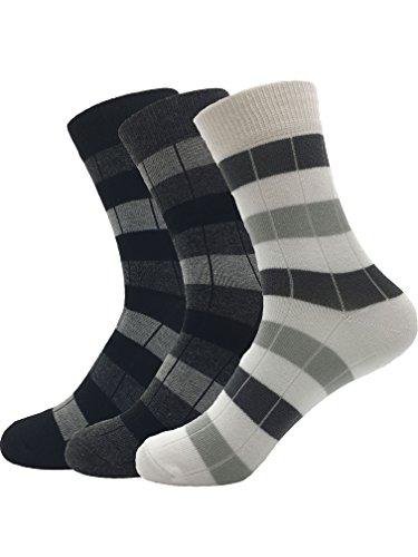 Zando da uomo misto cotone a coste Vestito Plaid Blocco calzini formali. 3 Pairs Black w White w Dark Grey Taglia Unica: 20 cm- 27 cm(Misura scarpa: 40-44)