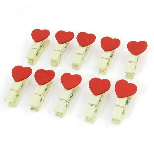 sourcingmap® 10 x Rouge Décoration en forme de cœur en bois à pinces à linge mémo Clips de fichiers de Note