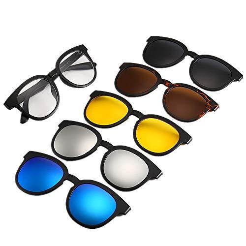 Unisex Retro Polarisierte Sonnenbrille Runde Retro Style Sonnenbrille mit 5Pcs Wechselobjektiven für Männer Frauen unzerbrechlich TR90 Frame Clip-on UV-Schutz Magie Sonnenbrille mit magnetischen Unise