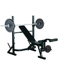 Banco de Pesas Entrenamiento de Musculación Fitness con Respaldo Regulable 175x98x30cm Color Negro