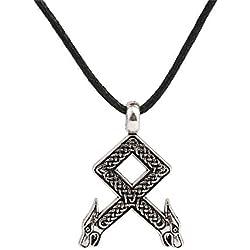Othila ancestrales nórdico Rune dragón cabeza nudo colgante collar de cadena de Cable de cera