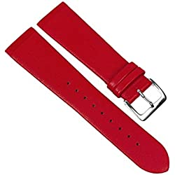 Leather Watch Strap Red Centre Pinch/Screws Skagen/Boccia, Bering, Rolf Kremer, DD, Obaku etc 23095S Bridge Width: 12 mm