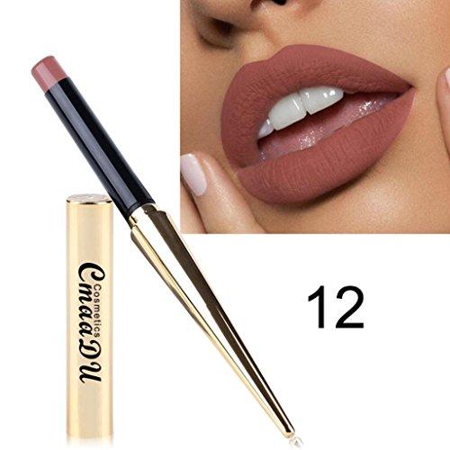 12 Farben Lippenstift Huihong Damen Wasserdicht Matt Kürbis Farbe Essen Erde Reich Vitamin E Neue Mode Lippenstift Lipgloss (12) -