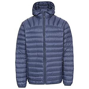 Trespass Romano, Navy, XL, Compact Foldable Ultra Light Warm Down Jacket with Hood, 90% Down for Men, X-Large, Blue