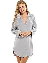 Keland Mujeres Camisón Blusa de modal Ropa de dormir Cierre de botones Manga corta/larga