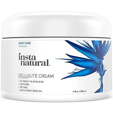 Crema para Celulitis de InstaNatural – Con cafeína y retinol – Solución reafirmante y loción de estiramiento para los muslos, glúteos y más – No necesita envoltorio – Tratamiento de control anti-celulitis – 120
