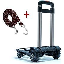 Meiyijia portátil para viajes Carretilla de mano plegable,Carritos de transporte con 4 ruedas Carga