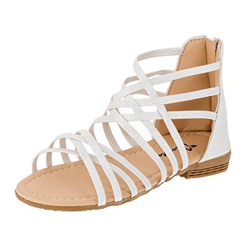 Modische Kinder Mädchen Lackoptik Sandaletten Sandalen in Vielen Farben M387ws Weiß 29
