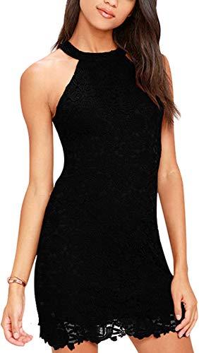 Meyison Damen Sommerkleid Vintage Ärmellos Spitzenkleid Ballkleid cocktailkleid Retro Rockabilly Festlich Partykleid 11 Farbe Schwarz-3XL