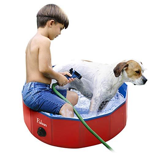 Fuloon Hundepool mit Ablassventil, Faltbarer Hunde Pool Katzenpool Swimmingpool Planschbecken Schwimmbad Hundebadewanne PVC-rutschfest, Verschleißfest, Für Kinder Den Hund Katze