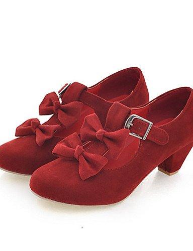 WSS 2016 Chaussures Femme-Habillé / Décontracté-Noir / Bleu / Rose / Rouge / Beige-Gros Talon-Bout Arrondi-Talons-Similicuir beige-us6.5-7 / eu37 / uk4.5-5 / cn37