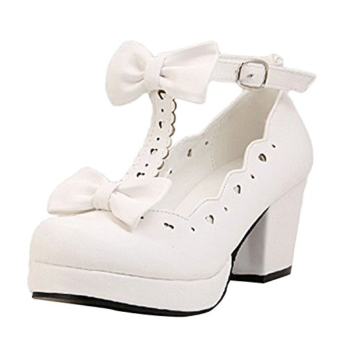 Oasap Women's Sweet Bow Cut Out Buckle Chunky High Heels white