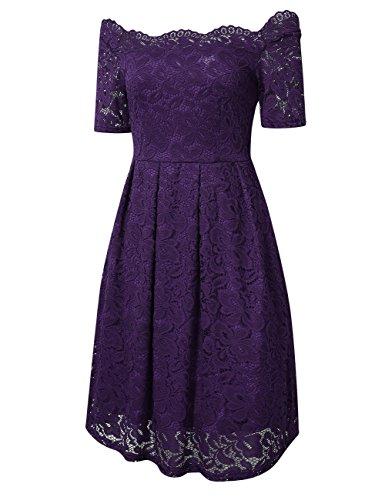 YesFashion Damen Kleid Spitzenkleid Abendkleid Partykleid Knielang A-Linie Kurzarm-Lila