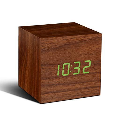 Gingko GK08G8 Würfel-Digitaluhr \'Click Clock\' Walnuss mit grüner LED-Anzeige