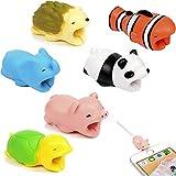 Kabel Biss Set Datenkabel Protector Tier Kabelschutz USB-Kabelschutz Kabel Schutz für Typ C USB Ladekabel 6 Stück (Panda+Fisch+Blauer Elefant+Rosa Schwein+Schildkröte+Igel)