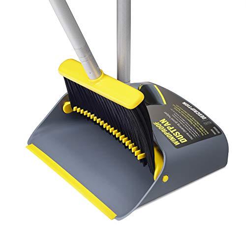 TooToo Besen- und Kehrschaufel-Set, Kehrmaschine und Kehrschaufel Combo mit 137cm langem ausziehbarem Griff für die Haushaltsreinigung (Gelb) - Leichte Kehrmaschine, Besen