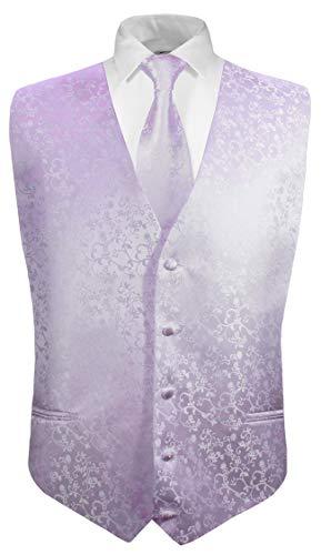 Festliche Jungen Anzug Weste mit Krawatte 2tlg lila flieder floral für Kinderanzug Gr. 14