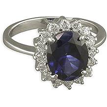 Zafiro y diamante CZ Plata Esterlina anillo de compromiso Kate Middleton réplica - medio/princesa