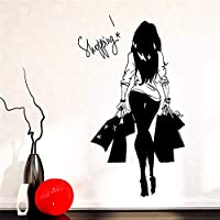 Girl Young Woman Shopping Bag Clothing Store Vinyl Wall Decal Wall Sticker Clothing Store Shopping Girl Bedroom Decoration 50x88cm