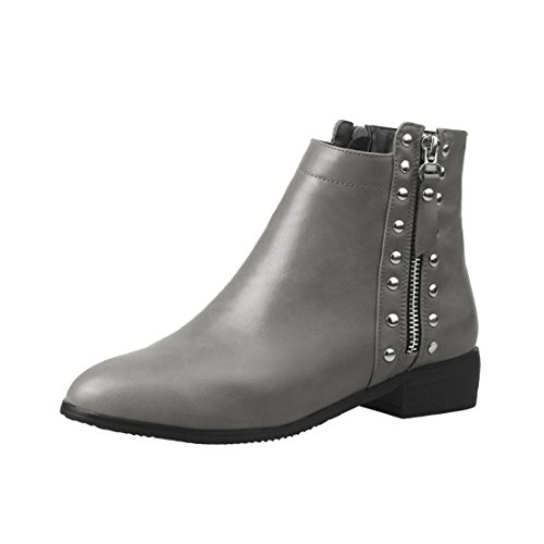 Gris Fourrure Bottines Plates Cheville Confortables Uh Synthétique q8aFE