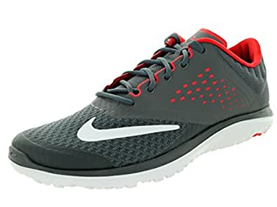 NIKE Men's FS Lite Run 2 Athletic Shoe, dark grey/white-university red, 10 D US