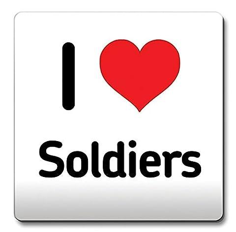 I Love Soldats Sous-verre Cœur Idée Cadeau de Noël Inscription Café