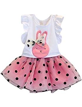 Amlaiworld Vestito per bambini,Coniglio di prua modello camicia Top+gonna a pois
