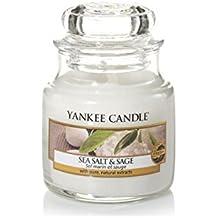 Yankee Candle Sea Salt & Sage Candele in Giara Piccola, Vetro, Bianco, 6.3X6.2X5.3 cm