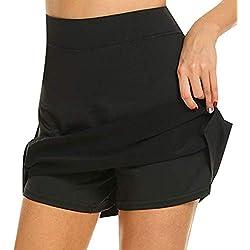 Bescita Short De Sport Uni pour Femmes, Couleur Unie, Jupes De Spectacle, Tennis, Exercice De Golf, Short De Sport