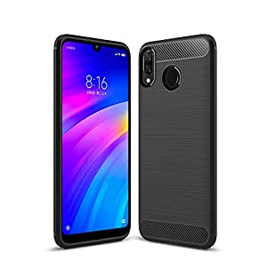Bracevor Flexible Shockproof TPU Back Case Cover for Xiaomi Mi Redmi Y3 / Redmi 7 Brushed Texture (Black)
