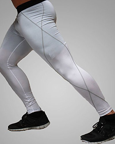 Uomo Elastico Compressione Quick Dry Pantaloni Tight Sport Fitness Leggings Bianca