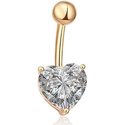Distinct® Corazón en forma de anillo de barriga del ombligo barra del anillo Piercing del cuerpo (Oro Blanco)