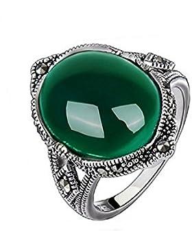 Jade Angel 925 Silber mit Oval Grün Achat Vintage Markasit Ring
