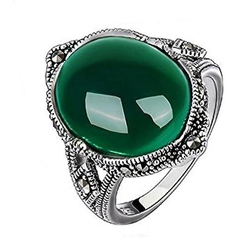 Ángel de Jade 925 plata óvalo verde anillo ágata de piedras de la vendimia