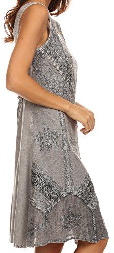 Sakkas robe Sudha mi-longue brodée délavée réglable Gris